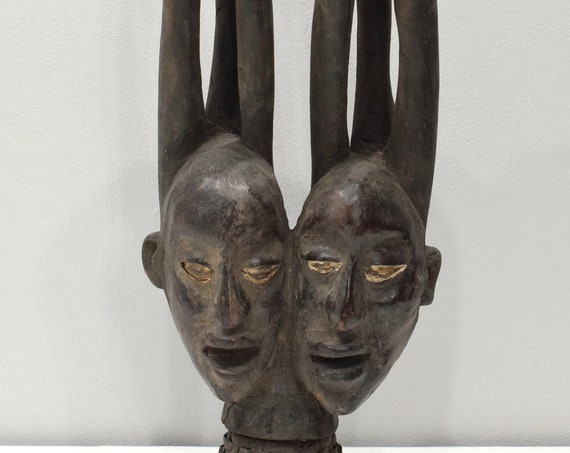 African Mask Ekoi Double Face Leather Crest Mask 22.5""