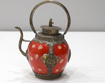 Chinese Red Porcelain Brass Teapot  7.5""