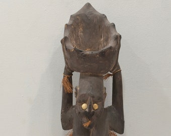 Papua New Guinea Statue Iatmul Kambot Village Female Wood Clay Pot Ancestor Statue