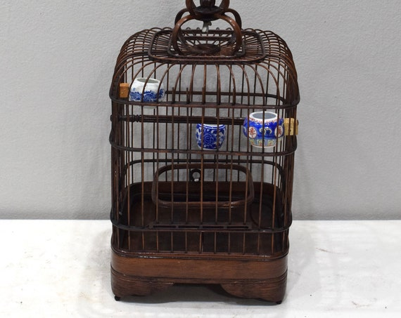 Birdcage Chinese Wicker Square Birdcage Porcelain Water Food Bowls