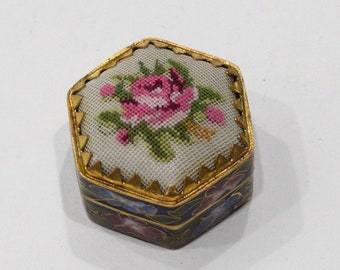 Chinese White Petite Point Cloisonne Box 1 1/4""