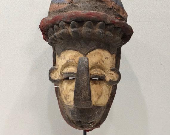 African Mask Yaka Tribe Congo Initiation Ceremonial Mask