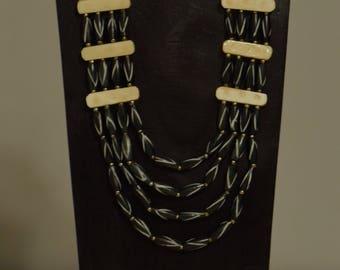 Necklace 4 Strand Black White Bone Beads Handmade Jewelry Black White Tubes Assorted Bone Bead 4 Strand  Necklace