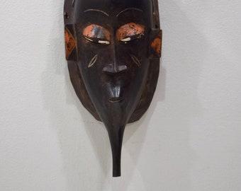 African Mask Baule Black Wood Mask Mask Ivory Coast