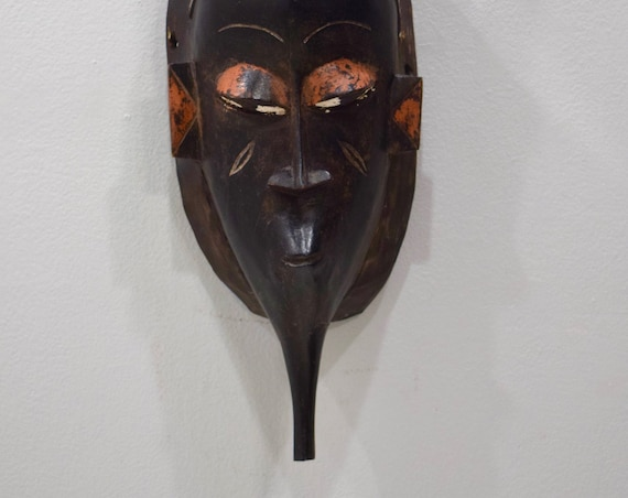 African Mask Baule Black Wood Mask Mask Ivory Coast