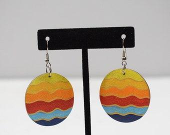 Earrings Painted Wood Circle Earrings