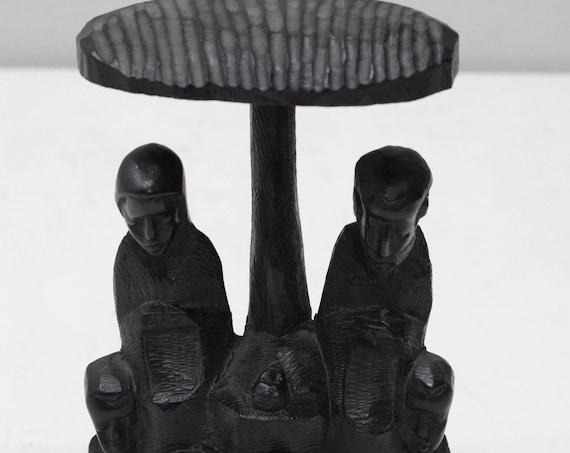 "African Statue Nativity Scene Ebony Carving Makonde Tanzania 8"""