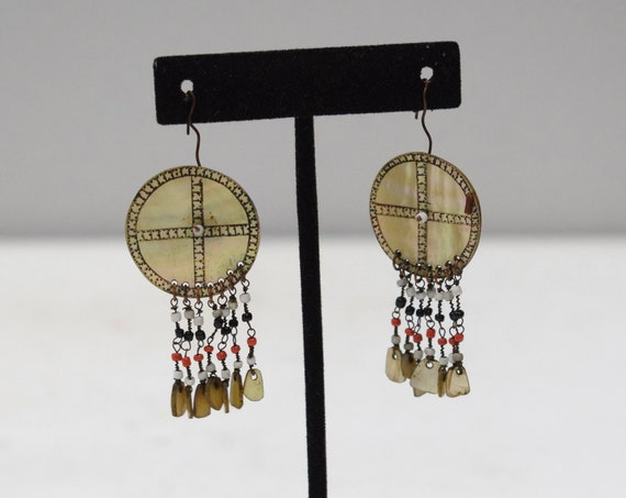 Philippines Earrings Ilongot Mother of Pearl Shell Earrings