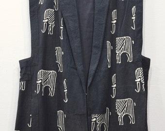 Sleeveless Duster African Black White Elephant