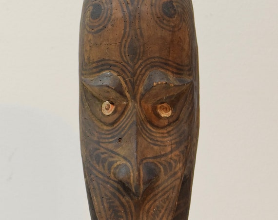 Papua New Guinea Mask Ancestor Sepik River Wood Clan Ancestor Mask