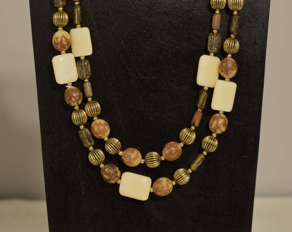 Necklace Double Strand Philippine Batik Buri Nut Bone Glass Beaded Handmade Bead Jewelry Necklace