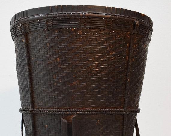 Basket Laos Woven Tribal Carrie Rattan Basket Handmade Basket