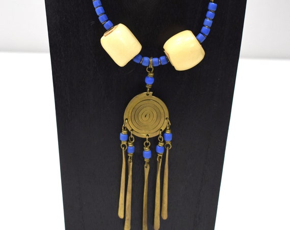 Necklace Africa Turkana Brass Blue Glass Necklace 28""