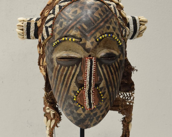 African Mask Kuba Cloth Helmet Mask Cowrie Shells Beads Fiber Kuba Mask