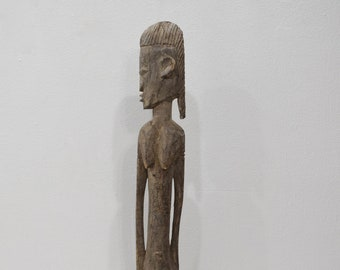 African Dogon Male Wood Bent Statue Mali