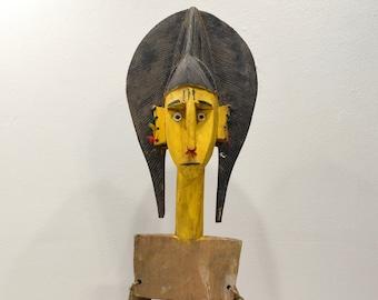 African Mask Bozoa Marionette Puppet