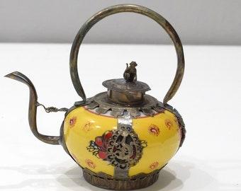 "Chinese Yellow Porcelain Round Brass Dragon Teapot  6"""