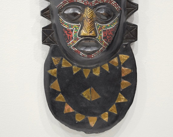 African Mask Ashanti Beaded Bird Wood Mask Ghana Bird Mask