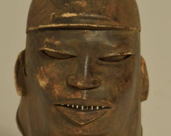 African Mask Makonde Helmet Wood Mask Tanzania Handmade Initiation Male Ancestor Spiritual Animal Makonde Mask