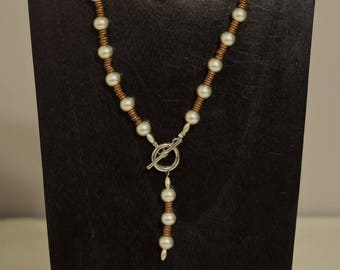 Necklace African Copper Heishi Front Toggle Bright Silver Beaded Handmade Silver Necklace Jewelry
