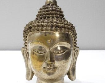 "Statue Large Brass Buddha Tranquility Head 10"""
