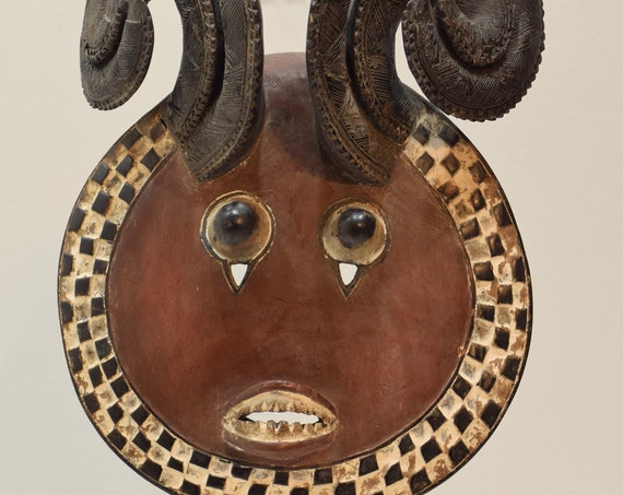 African Goli Horned Mask Akan Tribe Ivory Coast African Goli Horned Mask