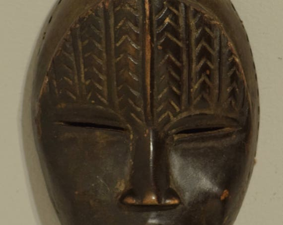 Africa Dan Mask Carved Wood Ivory Coast Handmade Magic Performance Power Statement Spirit Dan Mask
