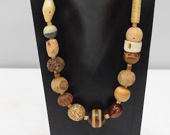 Necklace Indonesian Asymmetrical Assorted Wood Necklace