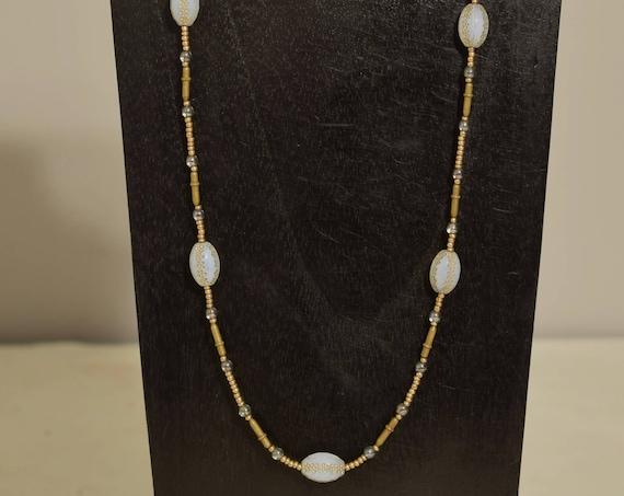 Necklace Chinese Opaline Gold Glass Czechoslovakian Glass Brass Beaded Handmade Glass Jewelry Necklace