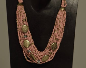 Necklace India Multi Strand Pink Glass Gold Beads Handmade Jewelry Pink Seed Beads Gold Beads Spacer Adjustable Necklace