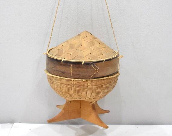 Basket Laos Stickly Rice Bamboo Wood Basket