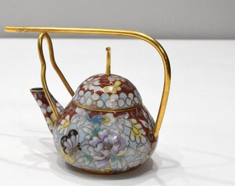 """Chinese Chinese Red Butterfly Cloisonne Teapot 5.5"""""""