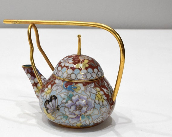 Chinese Chinese Red Butterfly Cloisonne Teapot 5.5""