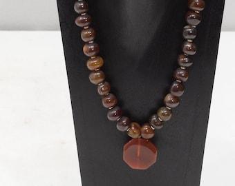 Necklace Carnelian Pendant Bead Necklace
