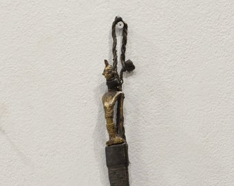 African Ashanti Tribe Bronze Knife Leather Sheath