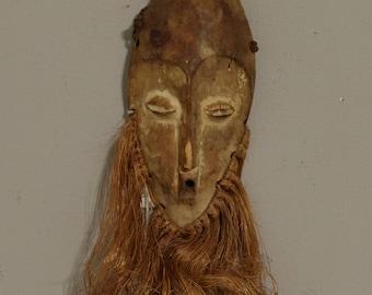 Mask African Lega Passport Mask Congo Handmade  Raffia Wood Shrine Ceremonial Charm Travel Lega Mask