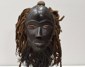 Africa Mask Dan Burnished Wood Metal Teeth Eyes Mask