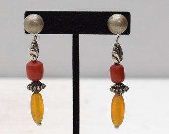 Earrings Silver Glass Buri Nut Post Earrings