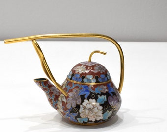 """Chinese Chinese Black Cloisonne Teapot 5.5"""""""