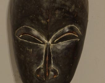 African Mask Baule Portrait Ivory Coast Handmade Wood  Female Beauty Portrait Wisdom Face Mask