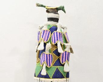 African Yoruba Beaded Multi Colored Bird Crown