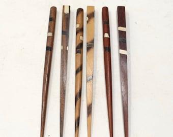 Hair Sticks Indonesian Assorted Inlaid Wood Hair Sticks
