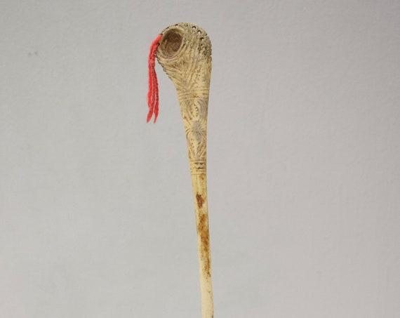 Papua New Guinea Lime Spatula Carved Cassowary Bone Lime Spatula