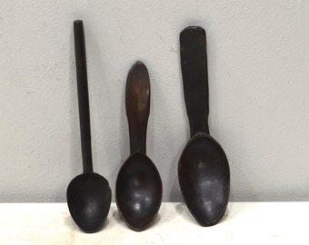 Spoon Philippines Ifuago Tribal Carved Wooden Handle Three Serving Spoons