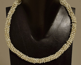Necklace Indonesian White Glass Beaded Handmade Glass Beaded Necklace Jewelry