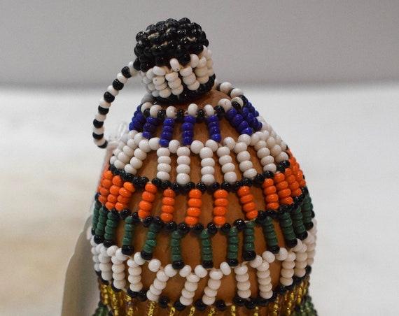 African Zulu Beaded Snuff Gourd South Africa Handmade Beaded Gourd