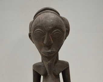 Statue African Baule Male Carved Wood Statue