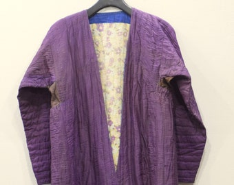 Coat Chapan Central Asia Mens Plum Quilted Stripped Silk Coat