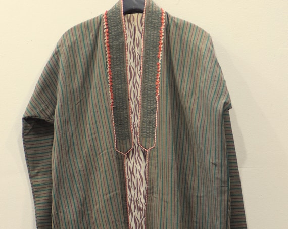 Coat Chapan Central Asia  Mens Green Stripped Cotton Coat