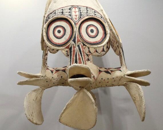 Papua New Guinea Mask 4 Headed Kavat Baining Fire Dance Ceremonial Mask